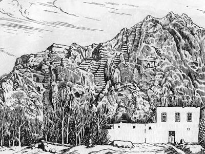 Зарисовка Ванской скалы первыми археологами Урарту