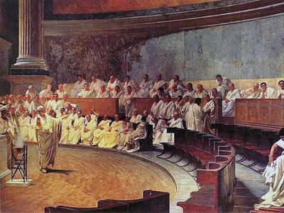 Цицерон произносит речь против Катилины