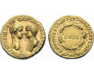 Золотой ауреус с изображением Нерона и Агриппины — 54 год.