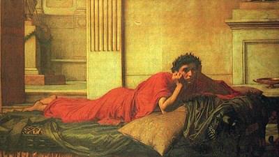 «Нерон мучается от угрызений совести после убийства матери», репродукция картины Джона Уильяма Уотерхауза, 1878 г.