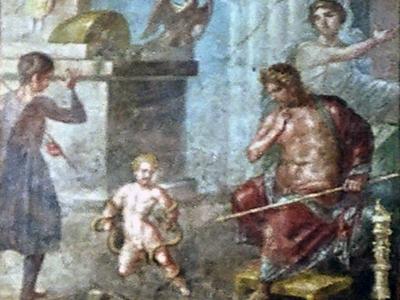 Младенец-Геракл душит змей. Помпейская фреска