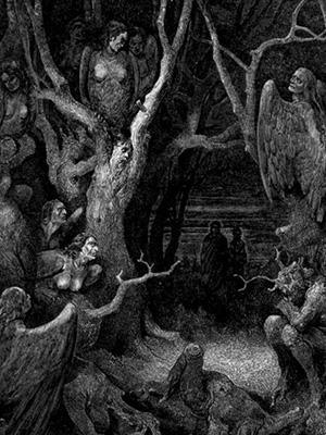 Гарпии в седьмом круге Ада