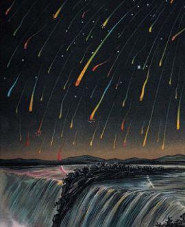 Метеорный поток Леониды на раскрашенной гравюре XIX века