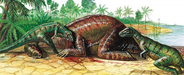 Хищные динозавры юрского периода и их жертва — травоядный брахиозавр
