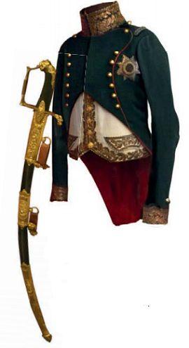 Мундир и сабля французского дивизионного генерала лёгкой кавалерии. 1810 г.