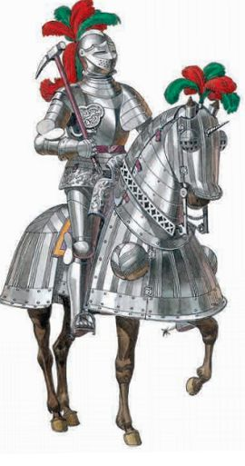 Рыцарь в полном вооружении на коне