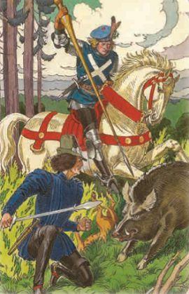 Преданный рыцарь на охоте спасает своего короля от клыков дикого кабана