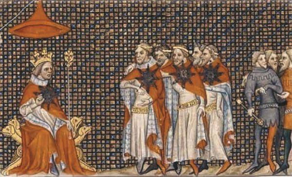 Ассамблея рыцарей ордена Звезды во главе со своим основателем, королём Франции Иоанном II Добрым