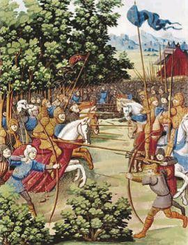 Роланд сражается с сарацинами в Ронсевальском ущелье