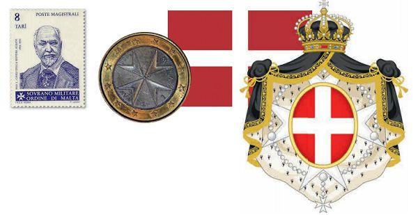 Почтовая марка, монета, флаг и герб Мальтийского ордена