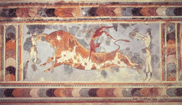 Игры с быком. Фреска из дворца Миноса в Кноссе, Крит