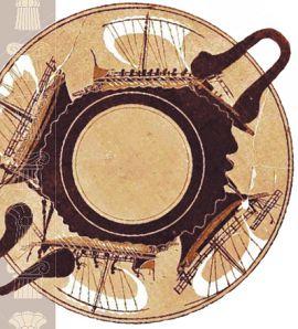 Торговые и военные корабли на чернофигурной чаше, 500 г. до н. э. Метрополитен-музей, Нью-Йорк