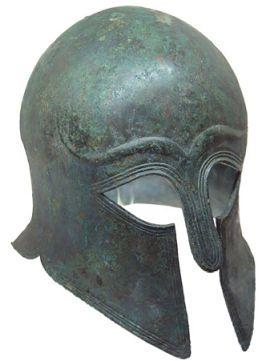 Греческий шлем, вторая половина VI в. до н. э. Античное собрание, Пергамский музей, Берлин