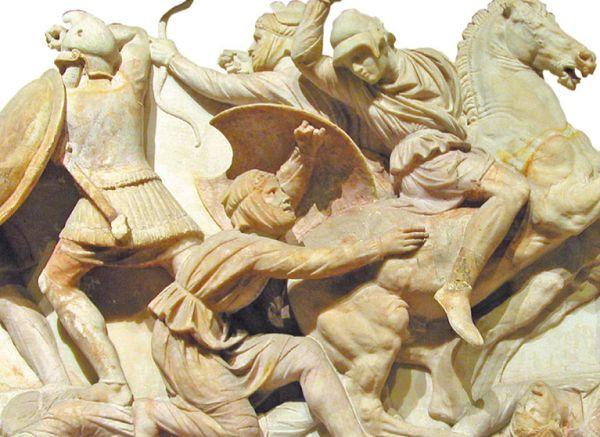 Персидский всадник атакует греческого пехотинца
