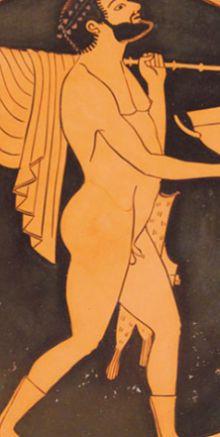 Крестьянин на краснофигурной вазе мастера Эпиктета