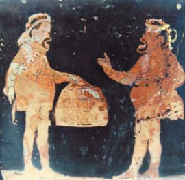 Торгующиеся крестьяне. Апулийский кратер, 380–370 гг. до н. э. Лувр, Париж