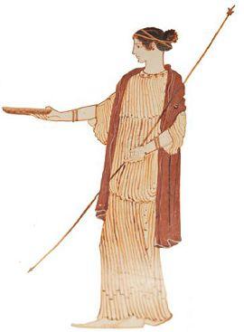 Богиня совершает возлияние на жертвенник. Аттический белофонный килик, 470 г. до н. э. Метрополитен-музей, Нью-Йорк