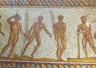 Награждение атлетов. Мозаика. Археологический музей, Олимпия