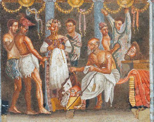 Актеры на задворках театра. Мозаика, I в. до н. э. Национальный археологический музей, Неаполь