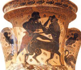 Геракл и кентавр Несс на чернофигурной амфоре