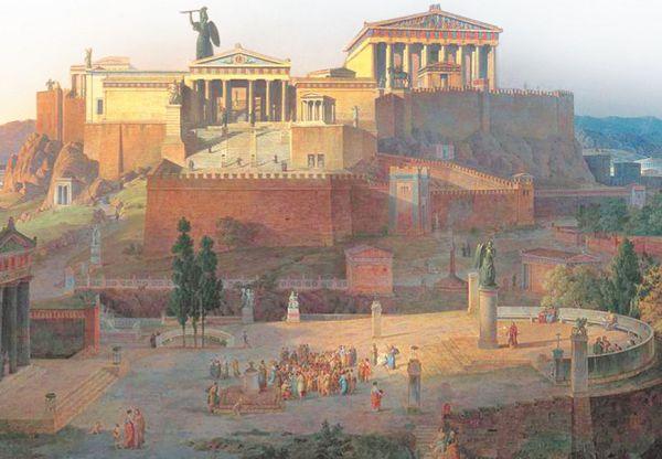 Парфенон и пропилеи, вид с холма ареопага. Реконструкция Л. фон Кленце, 1846 г. Новая пинакотека, Мюнхен