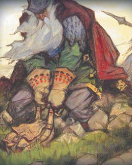 Русский богатырь Святогор тянет суму переметную