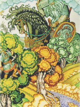 Илья Муромец и Святогор. И. Я. Билибин. 1900 г.