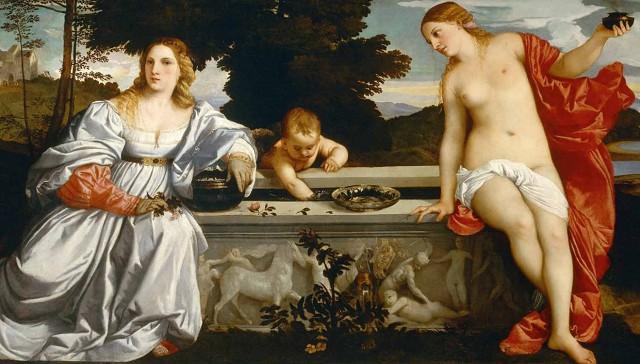 Тициан «Любовь небесная и Любовь земная» (1514) Симфония цвета и красоты