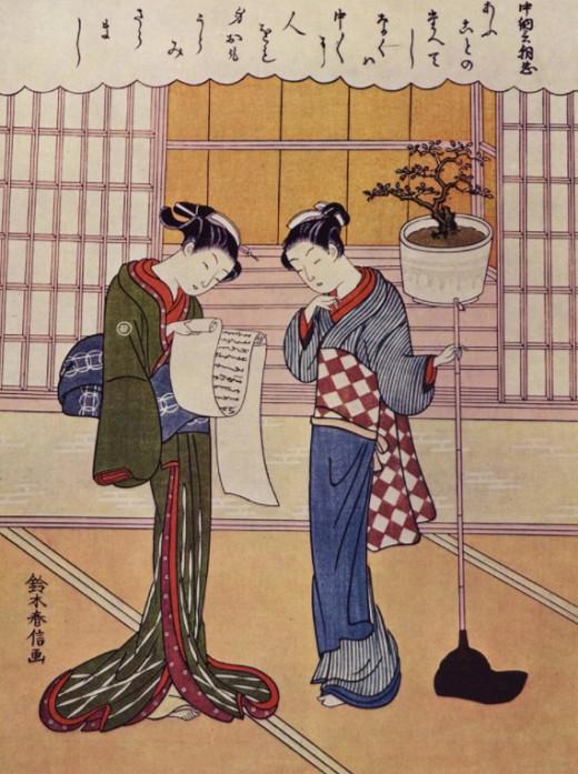 Судзуки Харунобу «Две женщины на веранде»