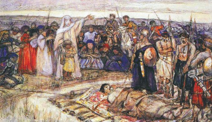 Ольга встречает тело князя Игоря