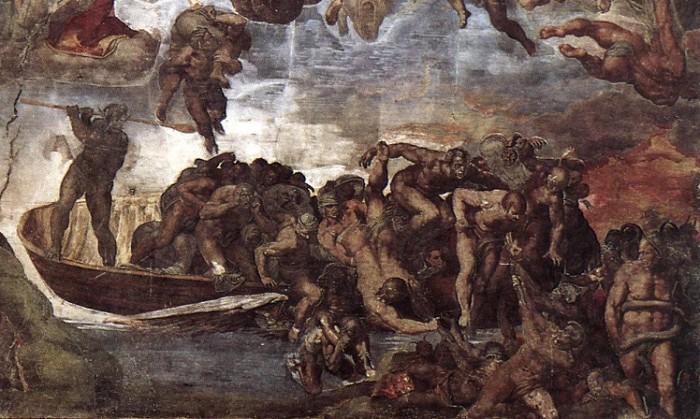 Харон разгружает свою лодку. Фрагмент фрески «Страшный суд» Микеланджело в Сикстинской капелле в Ватикане