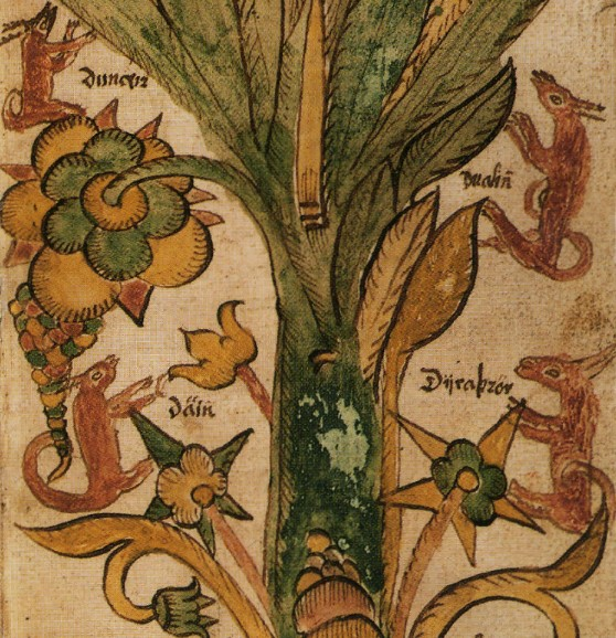 Священные олени Даинн, Двалинн, Дунейр и Дуратрор в ветвях Мирового древа Иггдрасиль. Исландская миниатюра XVII в.