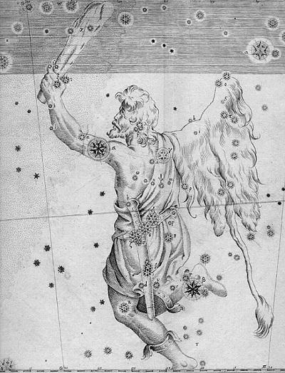 Созвездие Ориона на старинной звездной карте