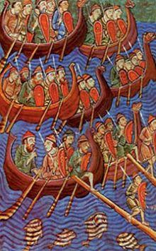 Викинги на пути в Англию. Миниатюра XII в.