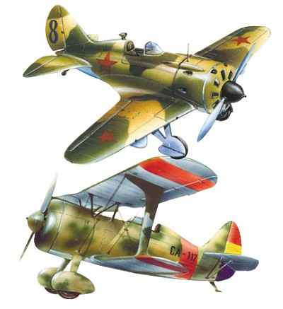 И-16 и советский истребитель И-15 бис