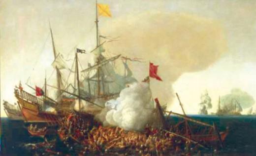 Испанский «Ман-о-Вар» вступает в бой с берберскими корсарами