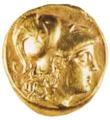 Золотая монета с изображением Александра Македонского