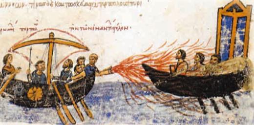 «Греческий огонь». Миниатюра из «Хроники» Иоанна Скилицы