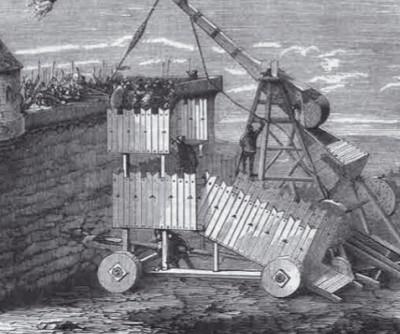 Осадная машина забрасывает крепость бочками с «греческим огнём»