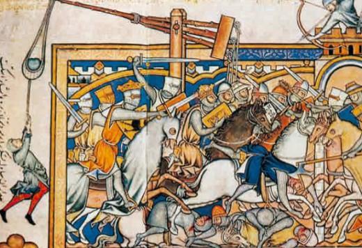 Осада замка. Миниатюра из Библии Мациевского