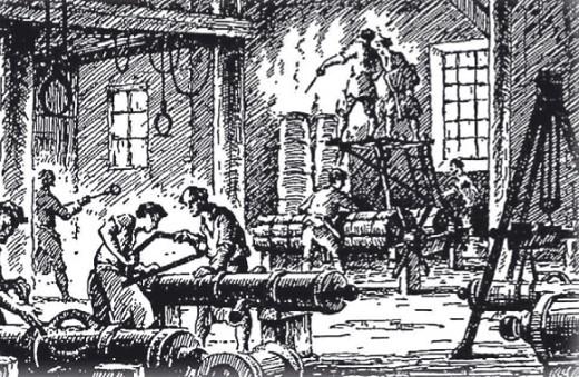Мануфактура XVII в. Производство артиллерийских орудий