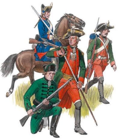 Драгун (на коне), мушкетёр, офицер пехоты, егерь (сидит)