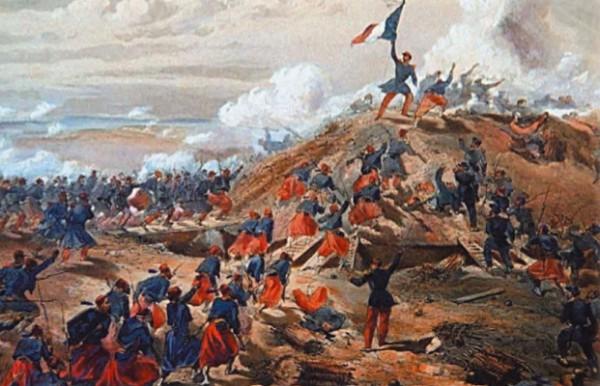 В. Симпсон. Взятие Малахова кургана французскими войсками 7 сентября 1855 г.