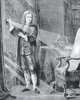 Исаак Ньютон изучает природу света с помощью стеклянной призмы