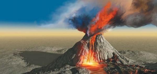 Изливание лавы из вулкана