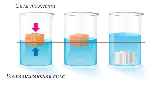 Кубики одинакового объема из пробки, дерева и металла