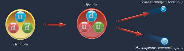 Схема распада нейтрона