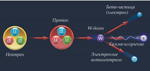 Более подробная схема распада нейтрона