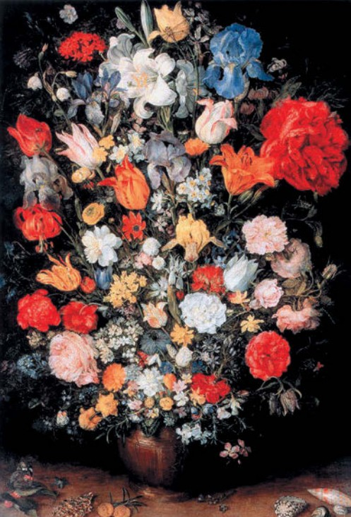 Ян Брейгель Старший Ваза с цветами, драгоценным камнем, монетами и раковиной Медь, масло. 1607