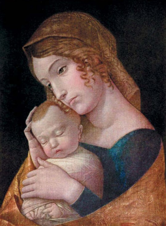 Андреа Мантенья Мария со спящим Иисусом Холст, клеевая краска. 1455